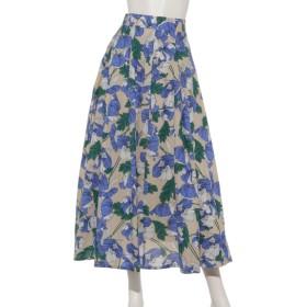 60%OFF INTERPLANET (インタープラネット) ボヘミアンタックフレアースカート 花柄 ベージュ