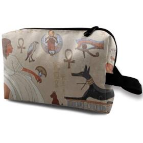 古代の象形文字エジプト文化 ポーチ 旅行 化粧ポーチ 防水 収納ポーチ コスメポーチ 軽量 トラベルポーチ25cm×16cm×12cm