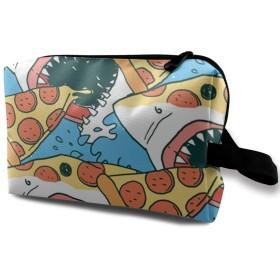 化粧ポーチ メイクポーチ 小物入れ 化粧品収納 高品質 大容量 青い海 サメとピザ おもしろ 旅行バッグ 日常使い 軽量 使い便利 メイクボックス スポーツ ギフト