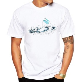 Yizu メンズ夏のホワイトファッションプリントTシャツギャラクシーアウトドアスポーツTシャツ用のTシャツ (色 : White, Size : S)