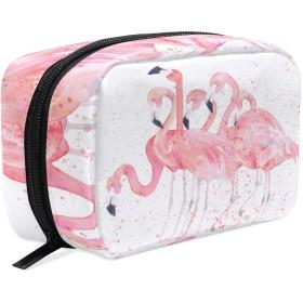 UOOYA おしゃれ 化粧ポーチ ピンク フラミンゴ Flamingo 軽量 持ち歩き メイクポーチ 人気 小物入れ 収納バッグ 通学 通勤 旅行用 プレゼント用
