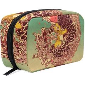 猫と鯉 化粧ポーチ メイクポーチ 機能的 大容量 化粧品収納 小物入れ 普段使い 出張 旅行 メイク ブラシ バッグ 化粧バッグ