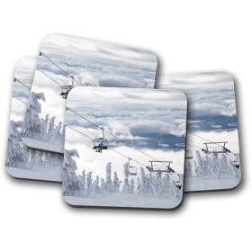4セット - ビッグホワイトリゾートコースター - ケローナ、カナダのスキー冬のスキーギフト#12775