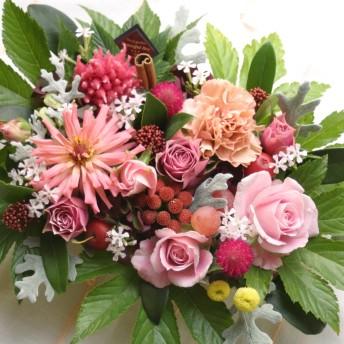 フラワーケーキ【 アレンジメント 記念日 誕生日 フラワーギフト 生花 新築祝い 開店祝い ピンク系 wa 】