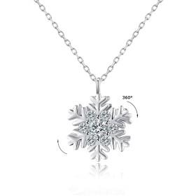 VEECANS 360°回転でき ネックレス チェーン スワロフスキージルコニア シルバー925純銀製 SWAROVSKI 公式認証付き 雪花ペンダント 雪の結晶 レディース
