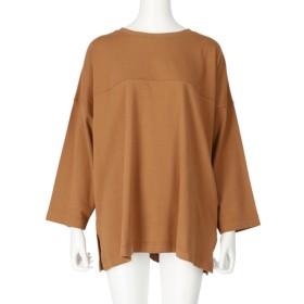 Settimissimo ヴィンテージ風サイドスリットロングTシャツ(キャメル)