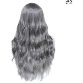Lambowo 27インチロングミックスカラーウィッグ前髪耐熱合成カーリーウィッグ女性用