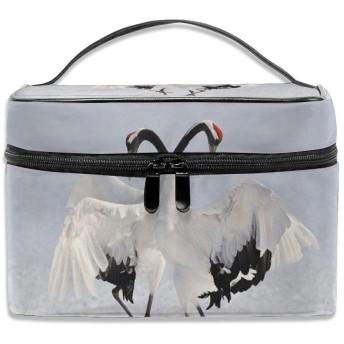 赤 戴冠 鶴 タンチョウ 化粧ポーチ メイクポーチ コスメバッグ 収納 雑貨大容量 小物入れ 旅行用