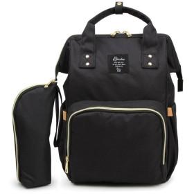 HAPPYJP マザーズバッグ ママバッグ リュック ハンドバッグ 多機能 大容量 保温ポケット付き ベビーカー用 ママ旅行用バッグ 出産準備 (ブラック)