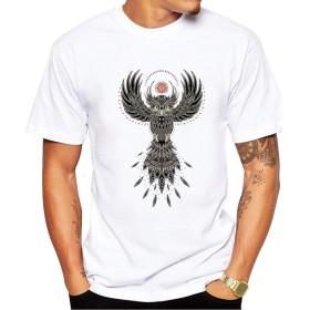 Yizu メンズTシャツファッションプリントTシャツフクロウ楽しい創造的なTシャツソフトで快適な (色 : White, Size : M)
