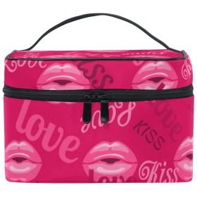 バララ (La Rose) 化粧ポーチ コスメポーチ 大容量 おしゃれ 機能的 かわいい ピンク 唇の印 絵柄 メイクポーチ 化粧箱 軽量 小物入れ 収納バッグ 女性 雑貨 プレゼント