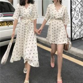 双子コーデ ドット カシュクール ワンピース ショート丈 ロング丈 半袖 韓国ファッション オルチャンファッション