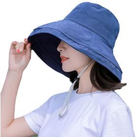 神馬 UVカット 帽子 レディース 紫外線対策 熱中症予防 小顔効果抜群 日よけ 調節テープ 自転車 日焼け 折りたたみ 可愛い ハット 旅行用 夏季 女優帽 吸汗通気 紫外線対策 (ブルー)