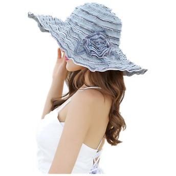 (ドウゲイ)TongYi レディース 女性用 UVカット帽子 遮光ハット ネックカバー コットン100% サイズ調節 つば広 uvカット帽子 春夏 レディース 自転車 (ブルー)