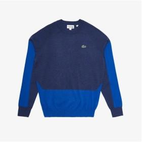 【30%OFF】 ラコステ カラーブロッキングゴルフセーター メンズ ブルー 2(日本サイズS) 【LACOSTE】 【セール開催中】