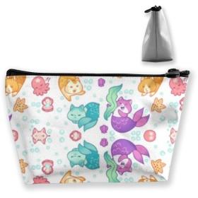 猫の人魚 収納ポーチ 化粧ポーチ トラベルポーチ 小物入れ 小財布 防水 大容量 旅行 おしゃれ