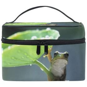 メイクポーチ カエル 化粧ポーチ 化粧箱 バニティポーチ コスメポーチ 化粧品 収納 雑貨 小物入れ 女性 超軽量 機能的 大容量