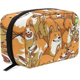おもしろの犬 柄 化粧ポーチ メイクポーチ 機能的 大容量 化粧品収納 小物入れ 普段使い 出張 旅行 メイク ブラシ バッグ 化粧バッグ