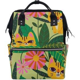 ママリュック 猫 花柄 きれい ミイラバッグ デイパック レディース 大容量 多機能 旅行用 看護バッグ 耐久性 防水 収納 調整可能 リュックサック 男女兼用