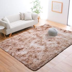 YJ.GWL ラグ カーペット 洗える 120×160cm ラグマット 2畳 じゅうたん カーペット センターラグ ラグマット 防ダニ 滑り止め付き 夏 冷房対応 ふわふわ 床暖房対応 センターラグ 長方形 ベージュ