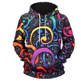 ユニセックスカップルパーカープリント落書きスウェットシャツポケットプラスサイズフード付きスウェットプルオーバートップ (Color : Multi-colored, Size : M)