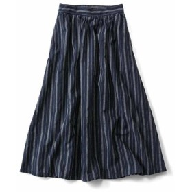 麻混の縦縞スカート〈ネイビー〉 THREE FIFTY STANDARD フェリシモ FELISSIMO【送料無料】
