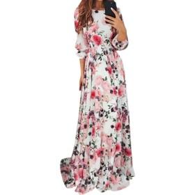 YOKINO レディース 体型カバー プリントドレス ミニ ビーチドレス かわいい 花柄 ロングドレス 長袖 演奏会 大きいサイズ (XL)