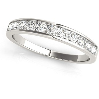 jewelmore 1/2ctwダイヤモンドチャネルの結婚指輪10Kホワイトゴールド