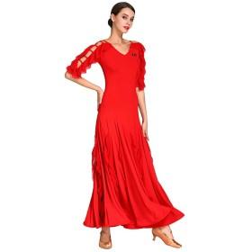 女性のためのファッションモダンダンスドレス、国家標準の社交ダンスの競争の衣裳の社会的なタンゴの訓練の性能のスカート (色 : 赤, サイズ さいず : S s)