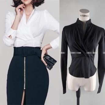 [55555SHOP] 限定発売 忙しい仕事、あなたはまた最も美しいです OL 気質 プロの女性 Vネック スリム シフォンシャツ ワイルド シャツ