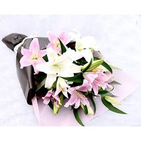 カサブランカとピンクゆりの花束 ラッピング:茶系