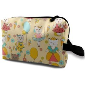 メイクポーチ 猫のパーティー トラベルポーチ シングルファスナーポーチ 大容量 トラベル コンパクト 旅行収納バック 化粧品収納 便利グッズ 旅行・出張・家庭用