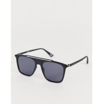 エイソス ASOS DESIGN メンズ メガネ・サングラス flat brow navigator retro sunglasses in black with smoke lenses ブラック