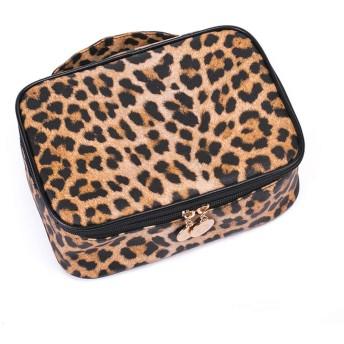プロフェッショナルパーティションメイクアップオーガナイザーケース、ポータブル美容ツール化粧品バッグ、多機能ヒョウプリント化粧道具箱,S