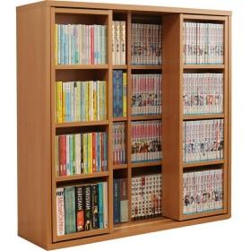 アイリスオーヤマ 本棚 コミック ラック 大容量 スライド棚 ダブル 幅約90×奥行約29.2×高さ約92.2cm ナチュラル CSD-9090
