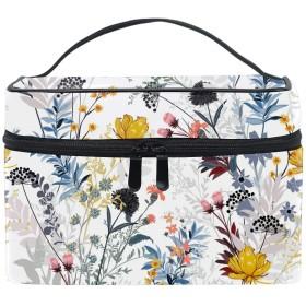 メイクポーチ ボックス 小物入れ 仕切り 旅行 出張 持ち運び便利 コンパクト花の葉