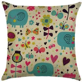 QYM 枕カバー、デジタル印刷コットンリネンクッションカバー投げるウエストピローケーススクエアソファ家の装飾 (Color : Animal Rd-02)