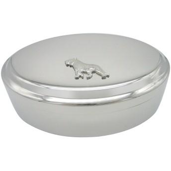 Silver Toned Tigerペンダント楕円形Trinketジュエリーボックス