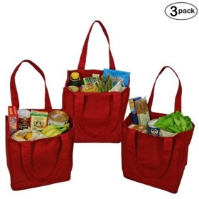 Simple Ecology Organic Cotton Deluxe Reusable Grocery Bag with Bottle Sleeves - Red by Simple Ecology