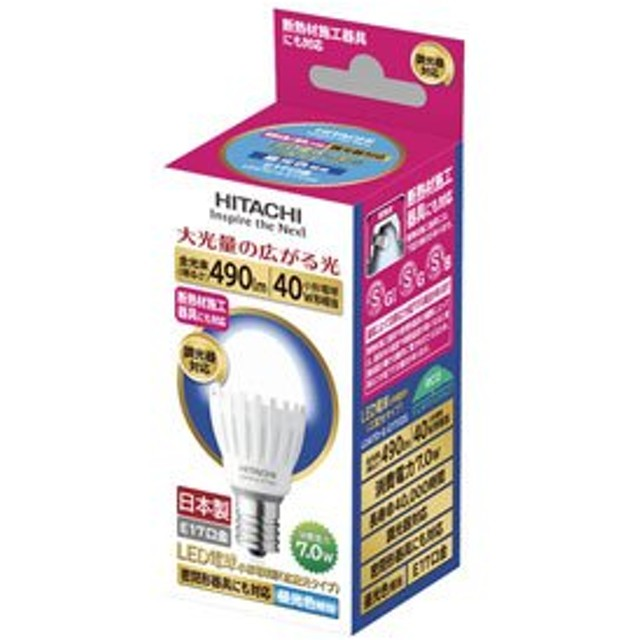 日立 LED 電球 (明るさの目安小型電球40W相当) 500lm 昼光色相当 7.0W E17口金 LDA7D-G-E17/DS