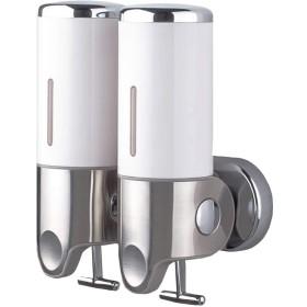 BENQUE ソープディスペンサー 壁掛け 手動 浴室 洗面所 詰替え シャンプー ホワイト(1000ml 2連)