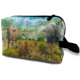 アフリカの動物の子供 化粧バッグ 収納袋 女大容量 化粧品クラッチバッグ 収納 軽量 ウィンドジップ
