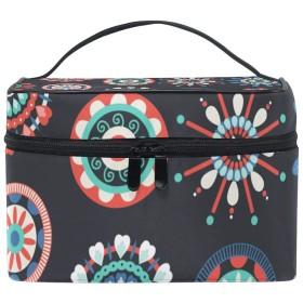 バニティポーチ トラベルバッグ メイクバッグ コスメバッグ 収納ケース 化粧ポーチ 化粧道具 化粧品 小物入れ 仕切り 旅行 出張 持ち運び便利 民族風 花柄