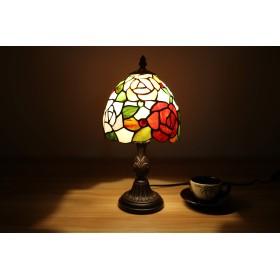 7インチテーブランプ LED対応 バラ柄ステンドグラスランプ レトロティファニーランプ手描き手作り寝室用電気スタント照明器具