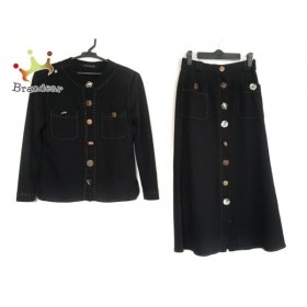 イタリヤ 伊太利屋/GKITALIYA スカートスーツ サイズ7 S レディース 黒×ダークブラウン 新着 20190909