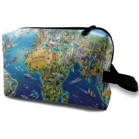 世界 地球 青い図案 化粧バッグ 収納袋 女大容量 化粧品クラッチバッグ 収納 軽量 ウィンドジップ