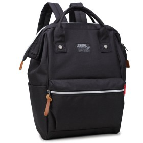 skybow リュック レディース 大人 デニムバッグ マザーズリュック 人気の大きく開く口金入りスクエアデイパック ハンドバッグ/手提げバッグ 3 way bag A4 人気 軽量 丈夫 6色 (black)