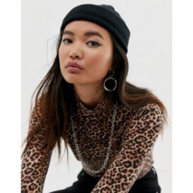 エイソス ASOS DESIGN レディース ニット 帽子 mini fisherman rib beanie in recycled polyester in black ブラック