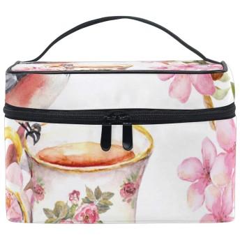 ユキオ(UKIO) メイクポーチ 大容量 シンプル かわいい 持ち運び 旅行 化粧ポーチ コスメバッグ 化粧品 鳥柄 さくら ピンク 花柄 レディース 収納ケース ポーチ 収納ボックス 化粧箱 メイクバッグ