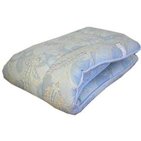 エブリ寝具ファクトリー 日本製 敷布団 ダブルロング (ブルー系) おまかせ柄 フランス産 羊毛100% ウール100% 固綿入り 敷き布団